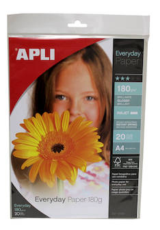 Photopaperi A4 180g APLI Everyday Glossy - Valokuvapaperit - 127909 - 1